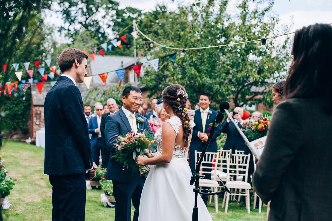 Devon colourful garden wedding proud dad image