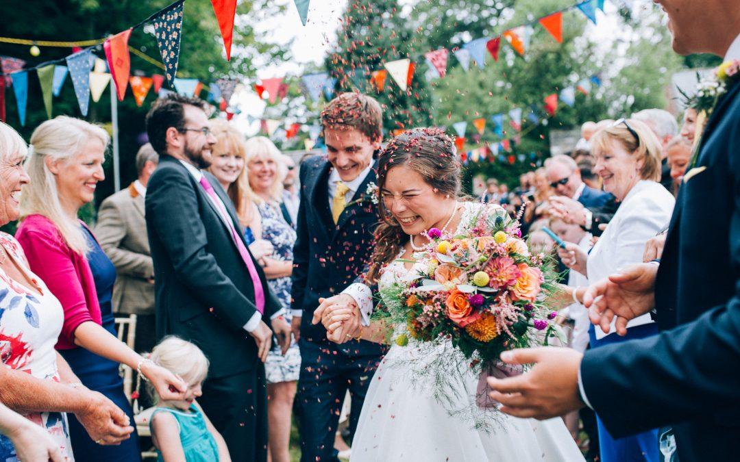 A Colourful & Joyful Humanist Garden Wedding in Devon