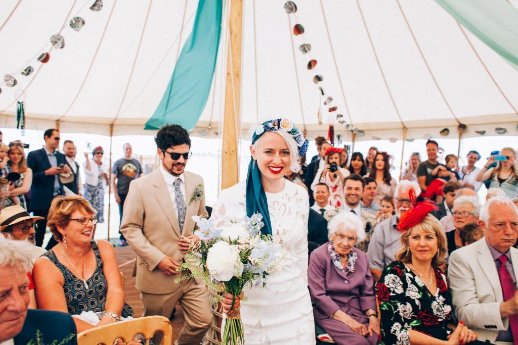 Festival wedding bride in flower crown smiling image