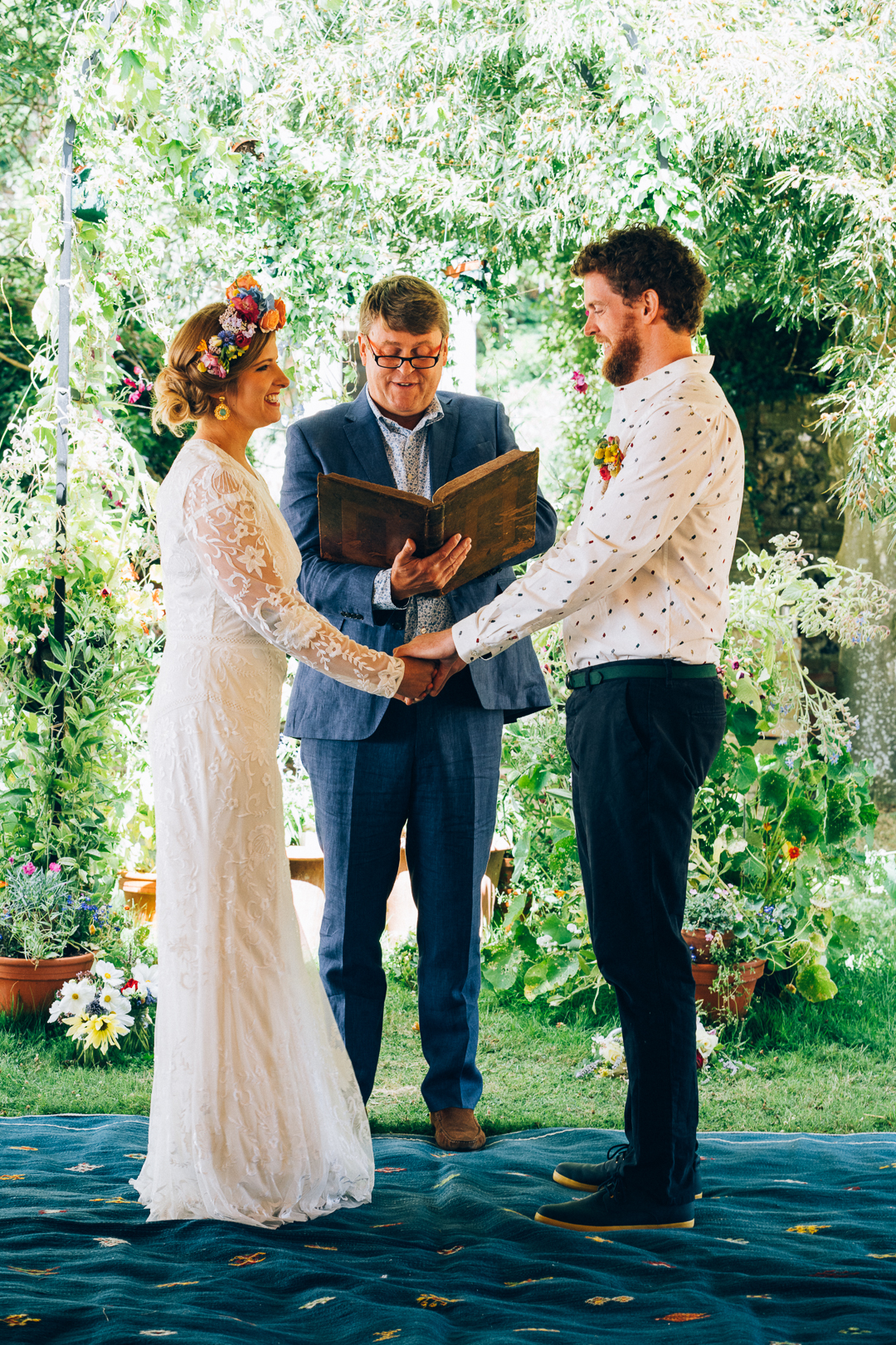 Bride and groom outdoor humanist ceremony image