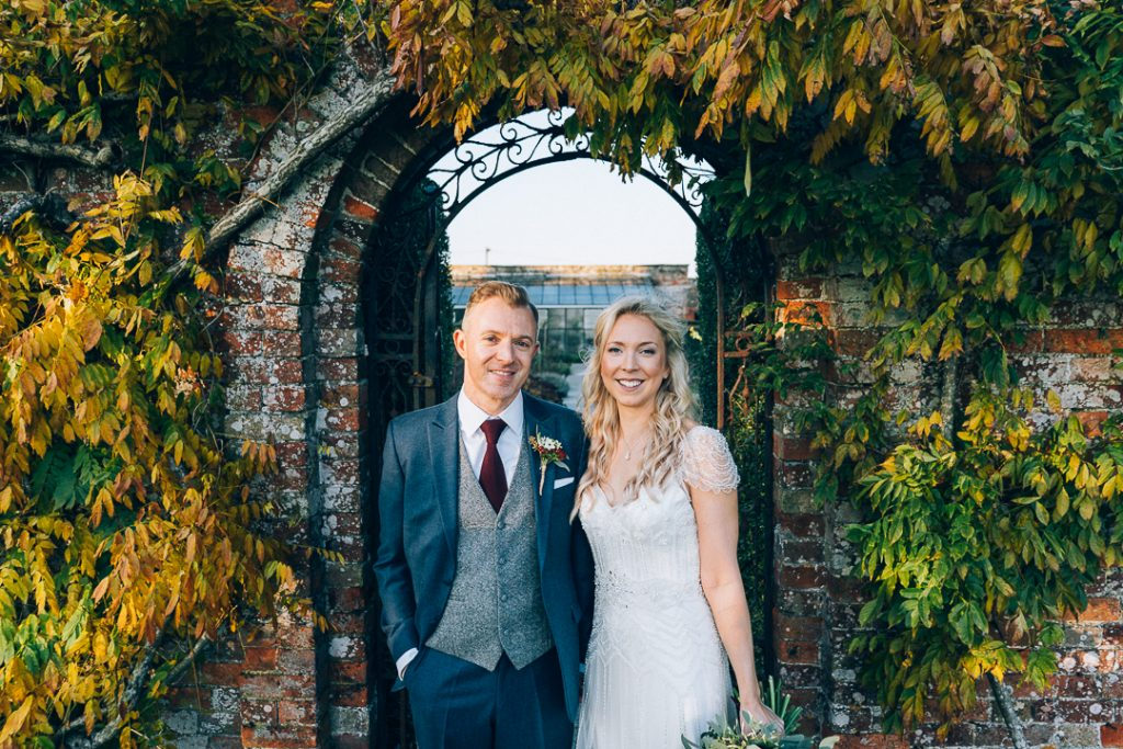 Bride and groom north cadbury court wedding portrait image