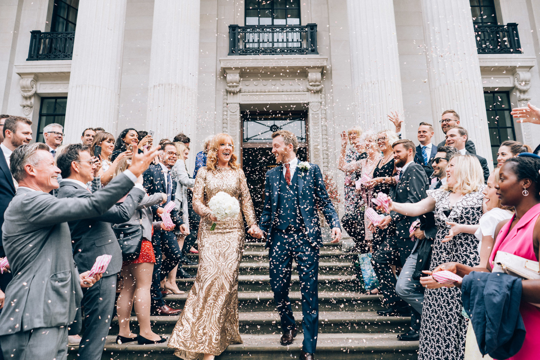 Old Marylebone Town Hall wedding ceremony bride and groom confetti on steps image