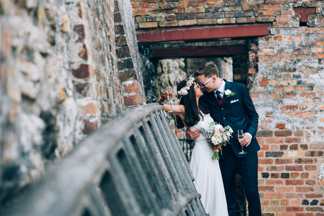 Ironbridge Gorge Museum Wedding Bride & Groom portrait by gorge bricks image