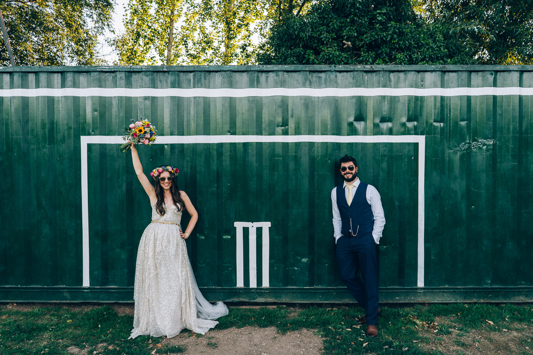 cool bride and groom diy wedding colourful flowers image
