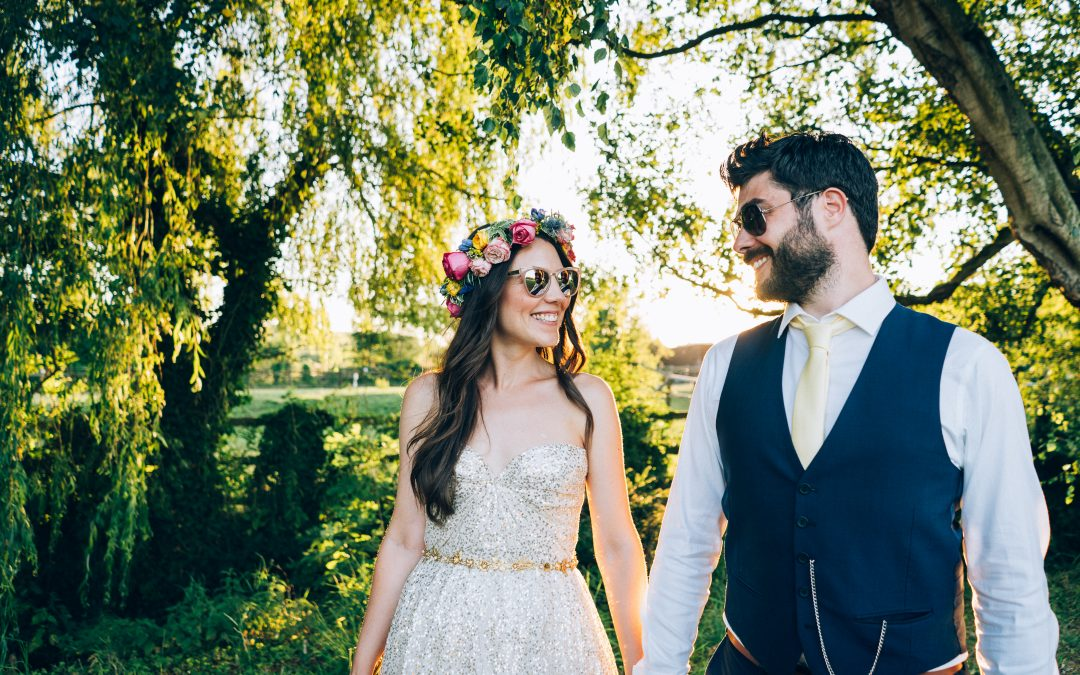Jenny & James' colourful DIY village hall wedding