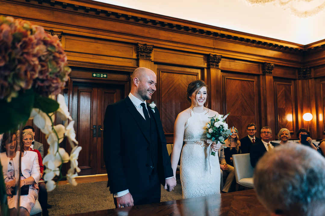image of bride and groom during ceremony at Old Marylebone Town Hall