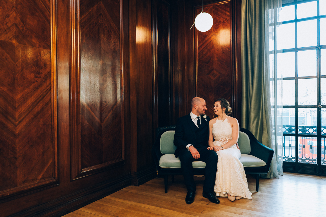 image of bride and groom portrait inside at old marylebone town hall