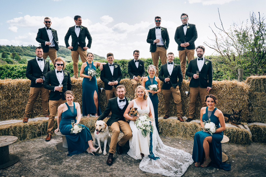 image of bride and groom with all of their ushers and bridesmaids staggered on straw bales with views of the somerset countryside